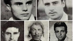 Cinq des sept (d'en haut à gauche) : Kalman Salonikov, Simcha Cohen, Nissim Laub, Shimon Balas et Mordechai Cohen (Crédit : Ministère de la Défense d'Israël/ via JTA)