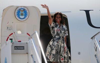 La Première dame des États-Unis, Michelle Obama, à l'aéroport de Venise en Italie le 19 juin 2015 (Crédit : image Michelle Obama via Shutterstock)