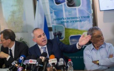 Le ministre israélien de l'Energie Yuval Steinitz (au centre) à Jérusalem le 30 juin 2015 (Crédit photo: Yonatan Sindel / Flash90)