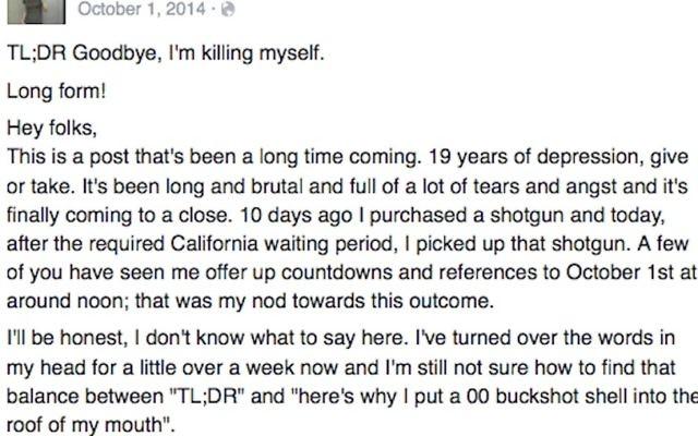 Une note de suicide publiée sur Facebook. L'auteur se serait suicidé en octobre 2014 (Crédit : Facebook)