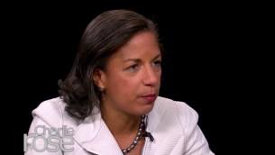 LA conseiller à la sécurité nationale des États-Unis, Susan Rice, lors d'une interview avec Charlie Rose le 24 février 2015 (Crédit : capture d'écran / YouTube / Charlie Rose)