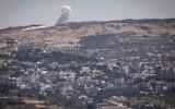 Une explosion sur les hauteurs du Golan syrien, le 16 juin 2015, pendant les combats entre le front al-Nosra et les troupes d'Assad, près du village druze syrien de Hader. (Crédit : Bâle Awidat / Flash90)