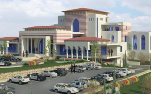 Le palais présidentiel qui devrait être construit  près de Ramallah, dans une image générée par ordinateur sur le site du PECDAR, le Conseil économique palestinien pour le développement et la reconstruction. Illustration. (Crédit : capture d'écran)