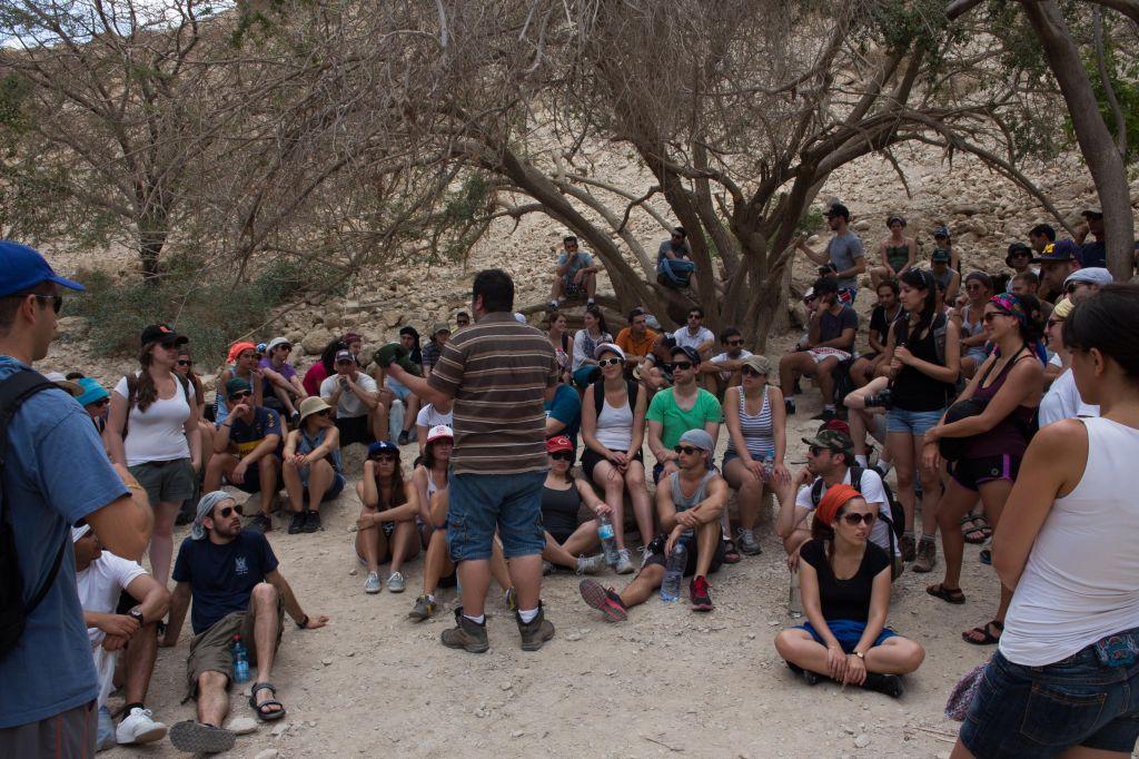 Les participants à Career Israel discutent des problèmes auxquels font face la population juive d'aujourd'hui, le 11 mai 2013 lors d'un séminaire à Ein Gedi (Crédit : Sarah Schuman / Flash90)