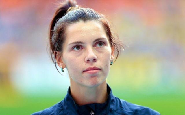 L'athlète de triple sauts Hanna Knyazyeva-Minenko aux Championnats du monde 2013 d'athlétisme (Crédit : Wikimedia / Augustas Didzgalvis / CC BY-SA 4.0)