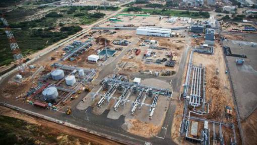 Une vue aérienne du Terminal terrestre d'Ashdod, qui reçoit le gaz et les condensats de flux de Tamar. Le site existant a été adapté pour recevoir du gaz naturel au large de Tamar (Crédit : Autorisation Noble Energy)