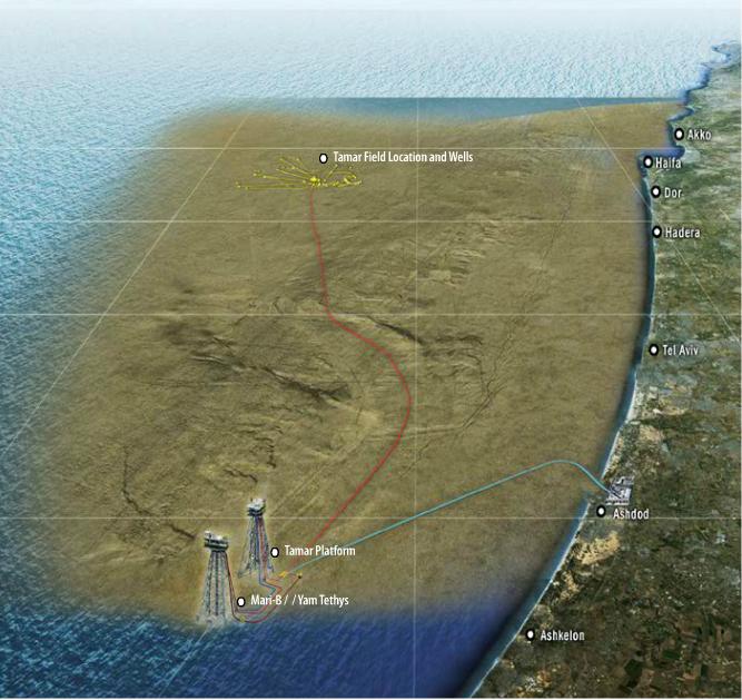 Une carte montrant l'emplacement des puits et plates-formes en mer qui produisent déjà du gaz naturel d'Israël (Crédit :  Noble Energy)
