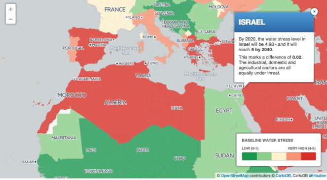 Carte montrant les niveaux de stress hydrique en Israël et ailleurs (OpenStreetMap / CartoDB)