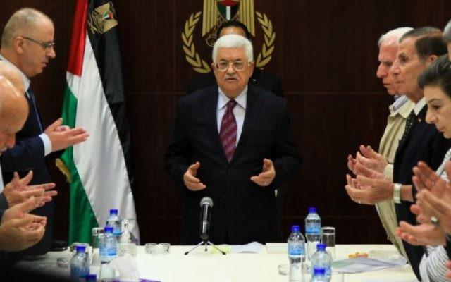 Le Président de l'Autorité palestinienne Mahmoud Abbas préside une réunion du comité exécutif de l'Organisation de libération de la Palestine dans la ville de Ramallah en Cisjordanie, le 22 août 2015 (Crédit photo: Flash90)