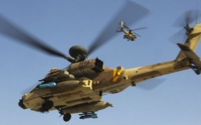 Hélicoptères Apache de l'armée de l'air israélienne. Illustration. (Crédit : Nati Shohat/Flash90)