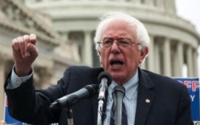 Le sénateur Bernie Sanders d'un rassemblement sur la colline du Capitole en 2013  (Autorisation JTA)