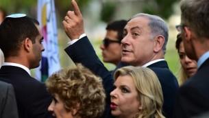 Le Premier ministre Benjamin Netanyahu et son épouse Sara visite  l'Exposition Universelle 2015 à Milan le 27 août, 2015  (Crédit photo: Giuseppe Cacace / AFP)