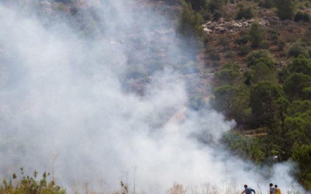 Le feu fait rage entre Tzur Hadassah et l'implantation de Beitar Illit en Cisjordanie le 2 août 2015. (Crédit photo: Nati Shohat / Flash90)