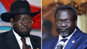 Le président du Soudan du Sud, Salva Kiir,  (à  gauche) le 2 juin 2014 et le leader du plus grand groupe rebelle et ancien vice-président du Soudan du Sud Riek Machar (à  droite), le 9 mai 2014 à Addis-Abeba (Crédit photos:  SAMIR BOL / ZACHARIAS Abubeker /AFP)