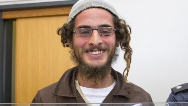 Meir Ettinger, le dirigeant d'un groupe extrémiste juif, devant la cour de justice israélienne à Nazareth Illit le 4 août 2015 un jour après son arrestation (Crédit photo: Jack Guez / AFP)