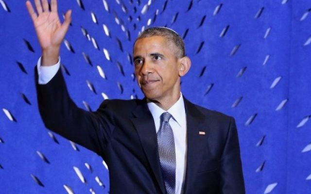 Le président américain Barack Obama prononce un discours lors de la célébration du Mois du patrimoine juif américain à la synagogue Adas Israel , le 22 mai 2015, à Washington (Crédit photo: Chip Somodevilla / Getty Images / AFP)