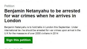 Pétition en ligne pour arrêter le Premier ministre Benjamin Netanyahu lors de son atterrissage à Londres. En date du 11 août 2015 la pétition a réuni plus de 31 000 signatures. (Capture d'écran petition.parliament.uk