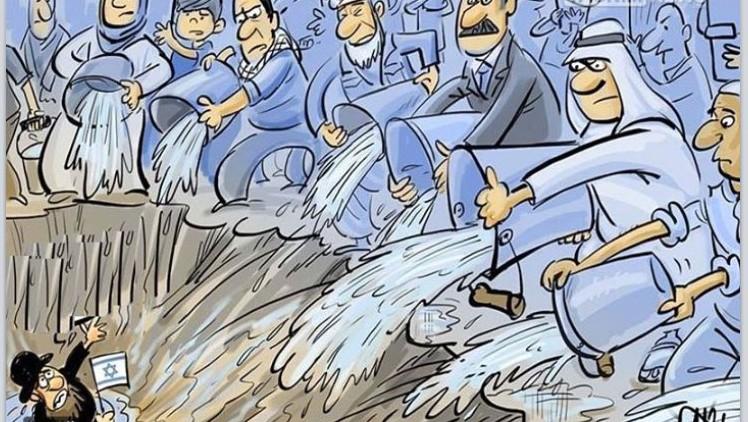 Caricature antisémite et anti-israélienne partagée par un groupe pro-palestinien autrichien sur Facebook