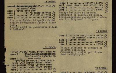L'emploi du temps d'une école juive du gehtto Cracovie en 1941 (Crédit : Shem Olam)