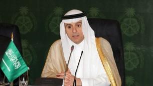 Le ministre des Affaires étrangères saoudien, Adel al-Jubeir, intervenant lors d'une conférence de presse à Djeddah, en Arabie Saoudite, le 23 juillet 2015 (Crédit : AFP)