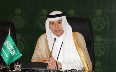 Le ministre des Affaires étrangères saoudien, Adel al-Jubeir, intervenant lors d'une conférence de presse à Djeddah, en Arabie Saoudite, le 23 juillet 2015. (Crédit : AFP)