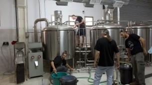 Des employés israéliens fabriquent une bière sans gluten à la Meadan Brewing dans la ville israélienne du nord de Karmiel, le 26 août 2015. (Crédit : AFP PHOTO / MENAHEM KAHANA)