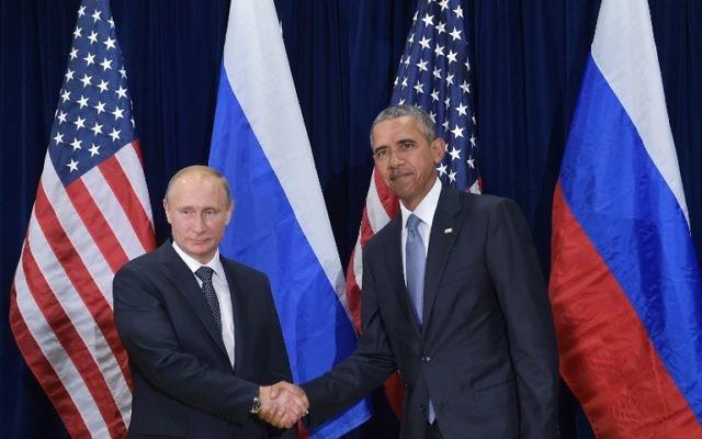 Barack Obama (g) et Vladimir Poutine à la 70e Assemblée générale de l'ONU à New York - le 28 septembre 2015 (Crédit : MANDEL NGAN / AFP)