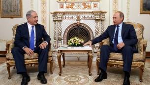 Rencontre entre le président russe Vladimir Poutine et le Premier ministre israélien, Benjamin Netanyahu (Crédit : Facebook)