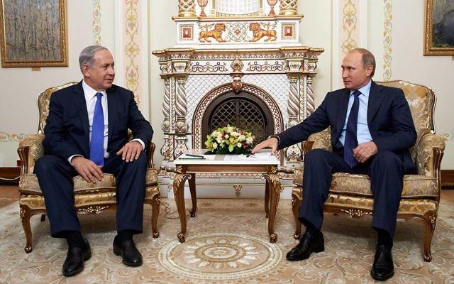 Rencontre entre le président russe Vladimir (à droite) et le Premier ministre Benjamin Netanyahu, en septembre 2015. (Crédit : Facebook)