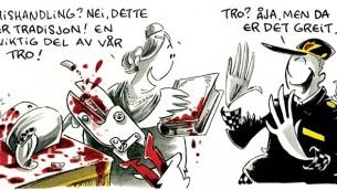 La caricature antisémite publiée par Dagbladet (Crédit : Capture d'écran / Dagbladet.no)