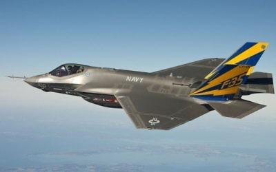 Un avion de chasse F-35 pendant un vol d'essai. (Crédit : US Navy/Wikimedia Commons)