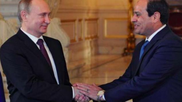 Le président russe Vladimir Poutine et le président égyptien Abdel Fattah al-Sissi pendant leur rencontre au Caire, le 10 février 2015. (Crédit : AFP/Mikhail Klimentyev/Ria Novosti)