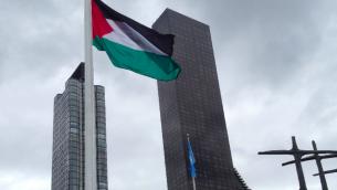 Le drapeau palestinien a été hissé au Rose Garden de l'ONU, le 30 septembre 2015. (Crédit : Raphael Ahren/Times of Israel)