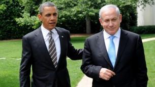 Le président américain Barack Obama (à gauche)  avec le Premier ministre Benjamin Netanyahu après leur réunion à la Maison Blanche à Washington, DC, le 20 mai 2011 (Crédit : Avi Ohayon / Gouvernement Bureau de presse / Flash90)