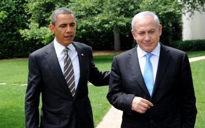 Le président américain Barack Obama (à gauche)  avec le Premier ministre Benjamin Netanyahu à la Maison Blanche, le 20 mai 2011. (Crédit : Avi Ohayon/GPO/Flash90)