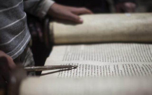 Photo llustrative d'un jeune homme lisant dans un rouleau de la Torah (Crédit: Yonatan Sindel / Flash90)