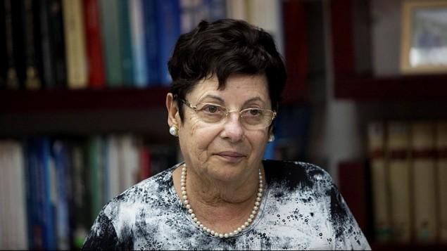 La présidente de la Cour suprême, Miriam Naor; à la première réunion du comité de sélection judiciaire israélien au ministère de la Justice à Jérusalem le 9 aoû, 2015. (Crédit : Yonatan Sindel / Flash 90)