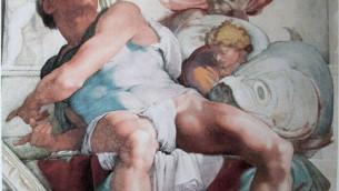 Représentation du prophète Jonas,  par Michel-Ange dans la Chapelle Sixtine (Source: Wikipedia)