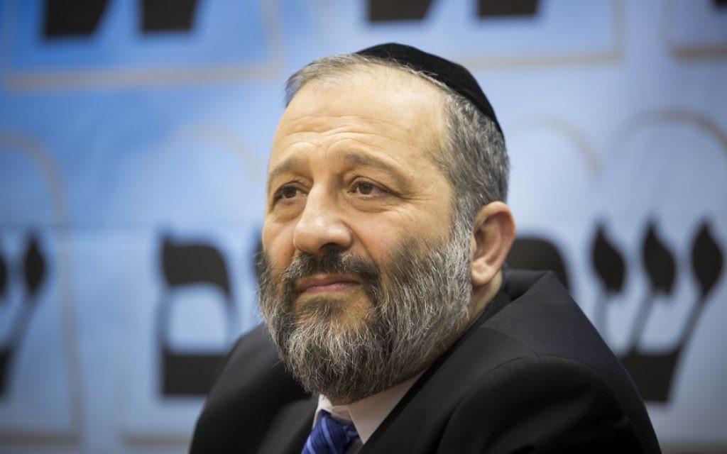 Aryeh Deri, ministre de l'Intérieur. (Crédit : Yonatan Sindel/Flash90)