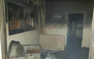 La maison brûlée de la famille Dawabsha dans le village palestinien de Duma, près de Naplouse, le 31 juillet 2015. (Crédit : Zacharia Sadeh/Rabbis for Human Rights)