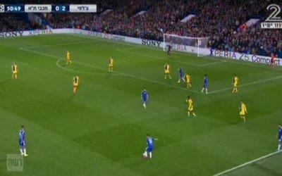Attaque de Chelsea contre le Maccabi Tel-Aviv au stade de Stamford Bridge à Londres, dans le cadre de la Ligue des champions européens, le 16 septembre 2015 (Capture d'écran Deuxième chaîne)