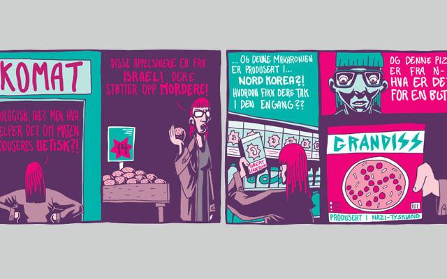 La bande dessinée publiée en Norvège par Dagbladet comparant Israël à l'Allemagne nazie et à la Corée du Nord le 24 septembre 2015.