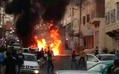 Scène de l'attaque à Hébron où des étudiants de yeshivot ont été attaqués (Crédit : Twitter)