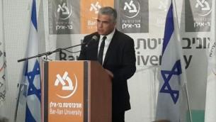 Le président  du parti Yesh Atid, Yair Lapid, paele à l'université Bar Ilan , le 20 septembre 2015