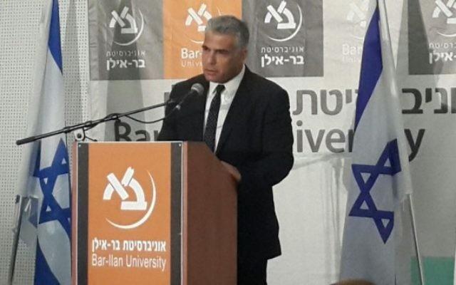 Le président  du parti Yesh Atid, Yair Lapid, à l'université Bar Ilan , le 20 septembre 2015
