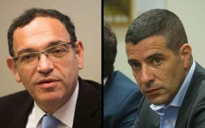 Les députés de la Knesset sortants  Shai Piron (à gauche) et Sharon Gal (Crédit photos: Yonatan Sindel  et  Miriam Alster / Flash90)