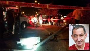 La scène de l'accident le 13 Septembre 2015 résultant d'une attaque de jets de pierres à Talpiot-Est, à Jérusalem dans lequel Alexandre Levlovitz, 64 ans, a été tué (Crédit : Arik Abulof / Jérusalem Services d'incendie et de secours / Autorisation)