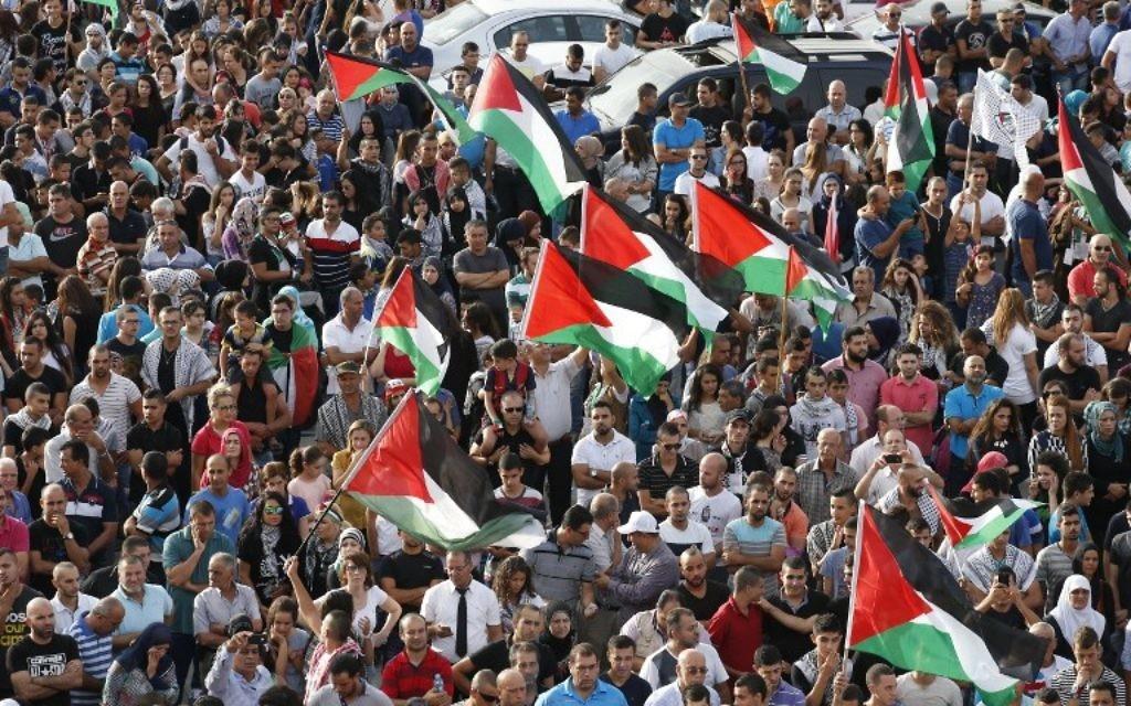 """Des Arabes israéliens participent à une grande manifestation dans le cadre d'une grève générale organisée en soutien aux Palestiniens qui ont appelé à une """"journée de la colère"""" le 13 octobre 2015 dans le village israélo-arabe de Sakhnin. (Crédit : AFP PHOTO / JACK GUEZ)"""