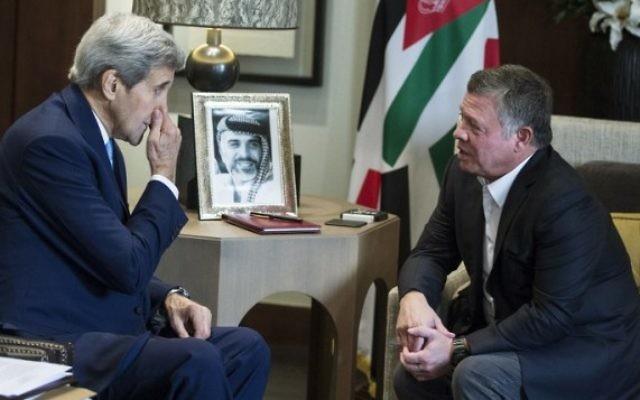 John Kerry a rencontré le roi  Abdallah II de Jordanie à Amman, le 24 octobre 2015  (Crédit : AFP /Pool/Carlo Allegri)