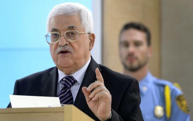 Le président de l'Autorité palestinienne, Mahmoud Abbas, devant le Conseil des droits de l'Homme de l'ONU le 28 octobre 2015 (Crédit photo: Fabrice Coffrini/ AFP)